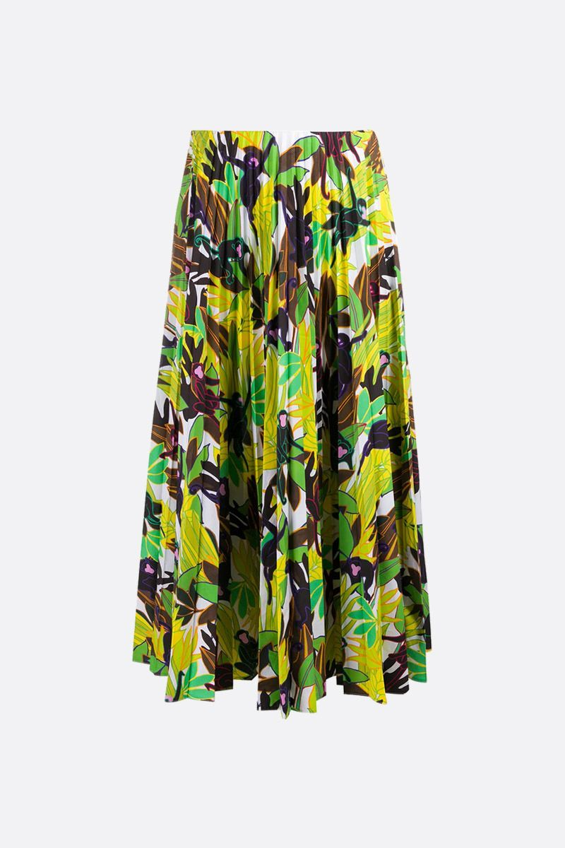 VALENTINO: Monkeys Forest print cotton pleated skirt Color Multicolor_2
