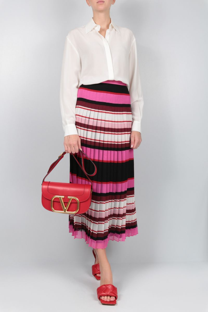 VALENTINO: Pop Baiadera print georgette pleated skirt_2