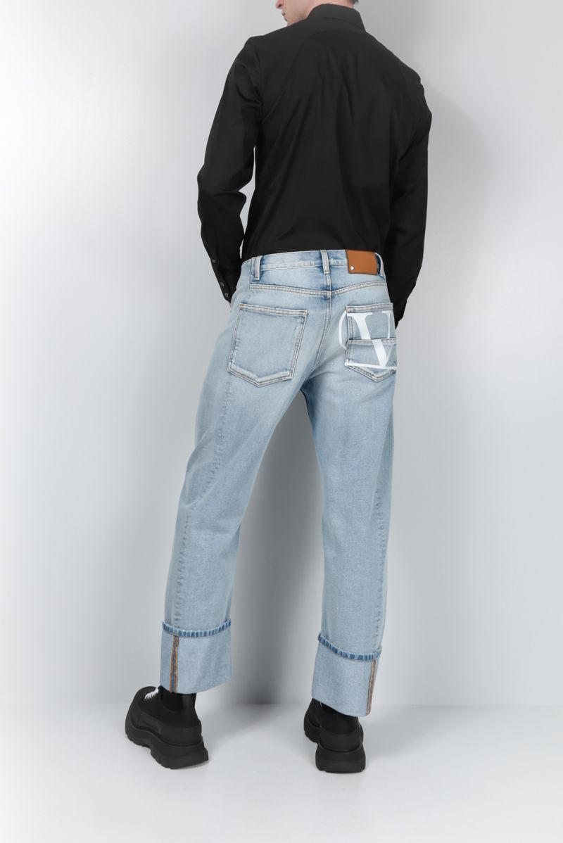 VALENTINO: jeans straight-fit VLOGO decostruito Colore Blu_2