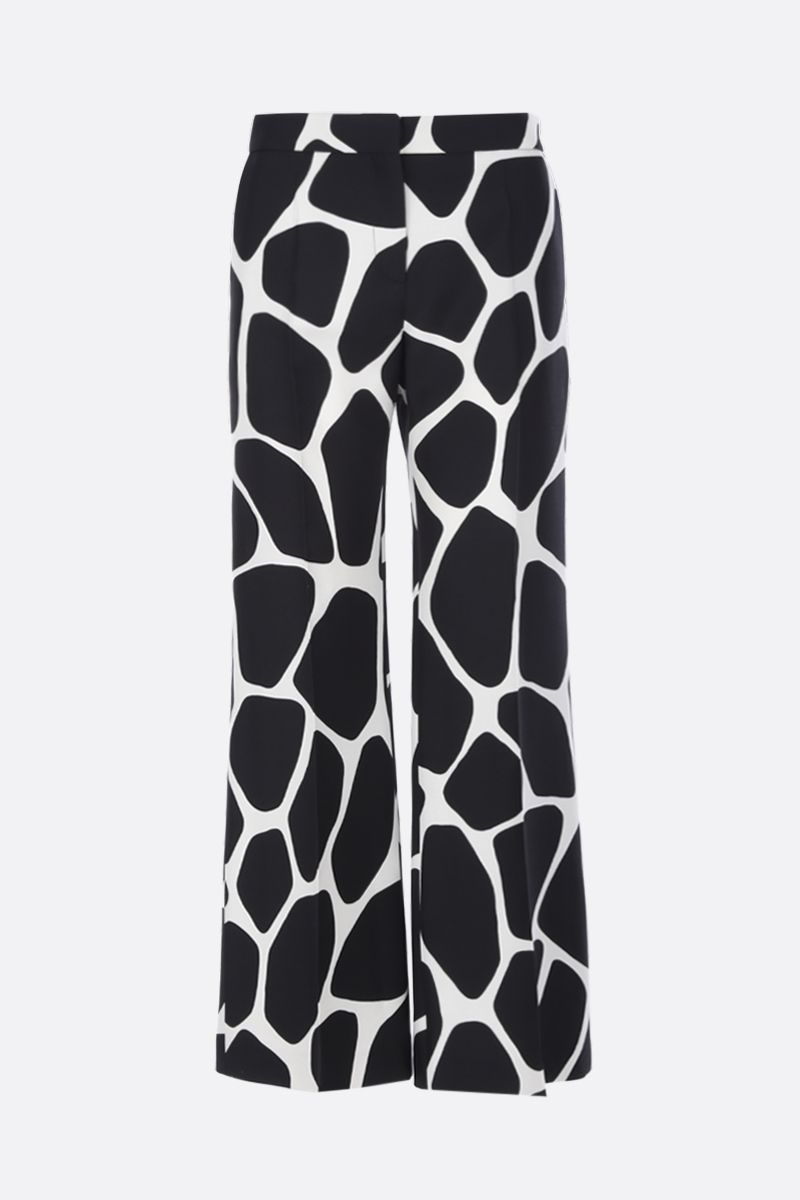 VALENTINO: Giraffe Reedition print Crepe Couture pants Color White_1