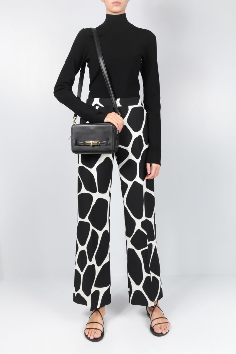 VALENTINO: Giraffe Reedition print Crepe Couture pants Color White_2