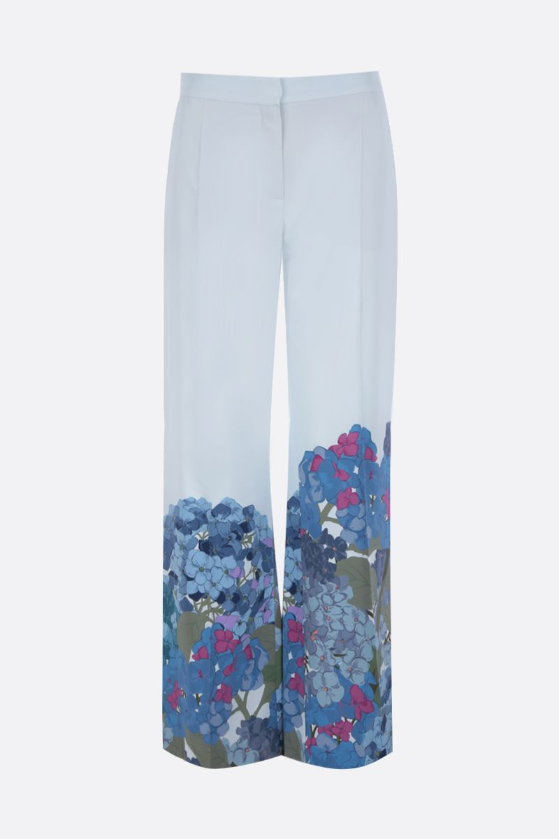 VALENTINO: printed crepe de chine flare pants Color Blue_1