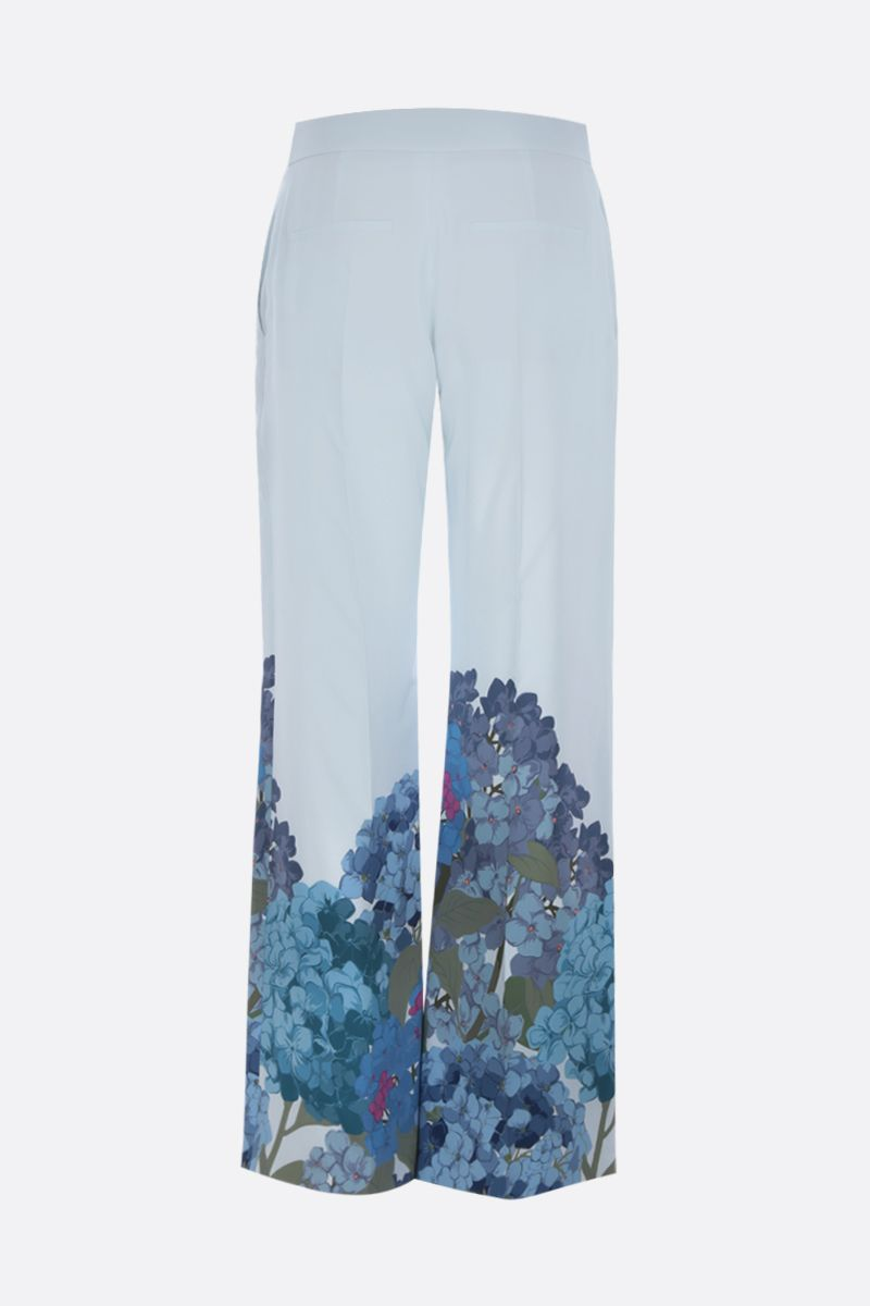 VALENTINO: printed crepe de chine flare pants Color Blue_2