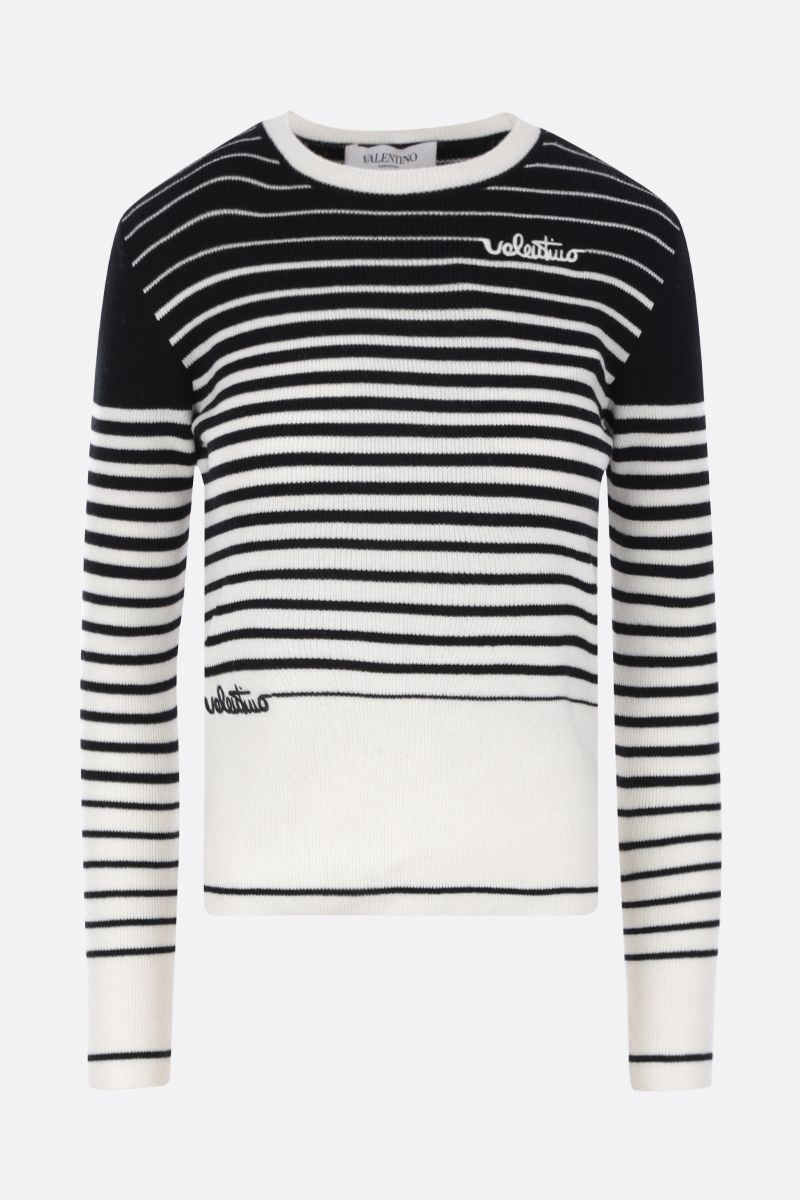 VALENTINO: Valentino Signature embroidered wool cashmere pullover Color Neutral_1