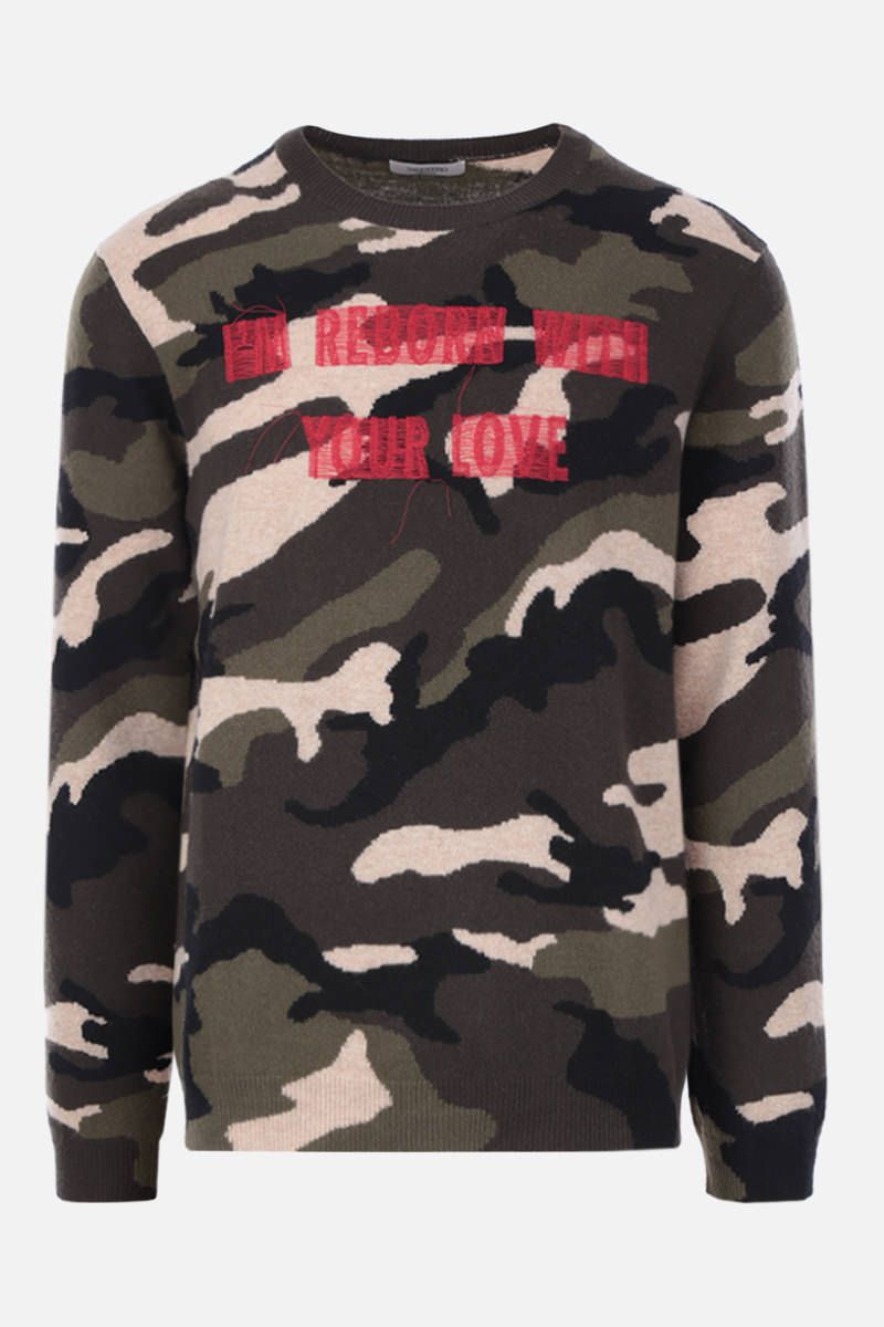 VALENTINO: embroidered camouflage wool pullover Color Green_1