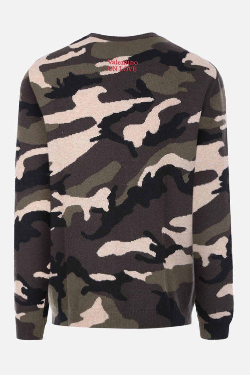 VALENTINO: embroidered camouflage wool pullover Color Green_2