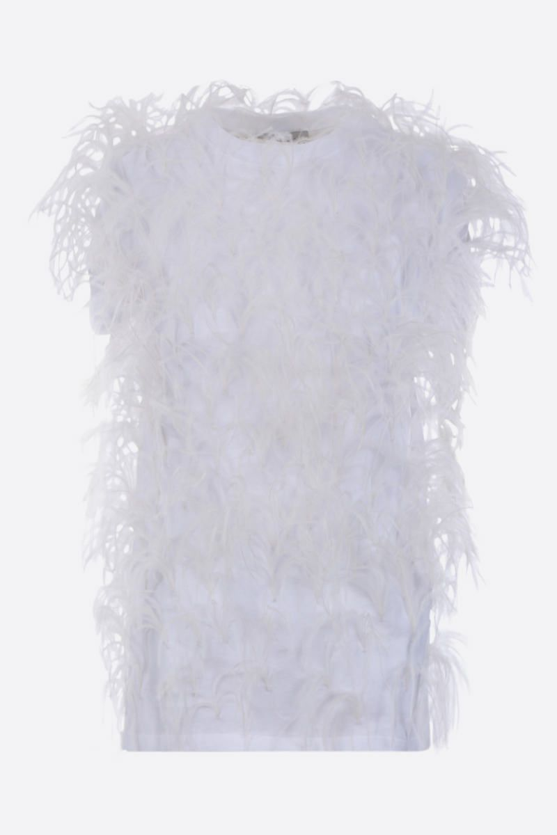 VALENTINO: feather-embellished cotton t-shirt Color White_1