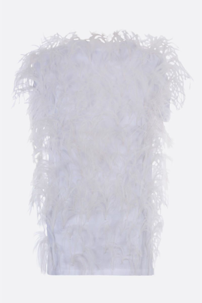 VALENTINO: feather-embellished cotton t-shirt Color White_3