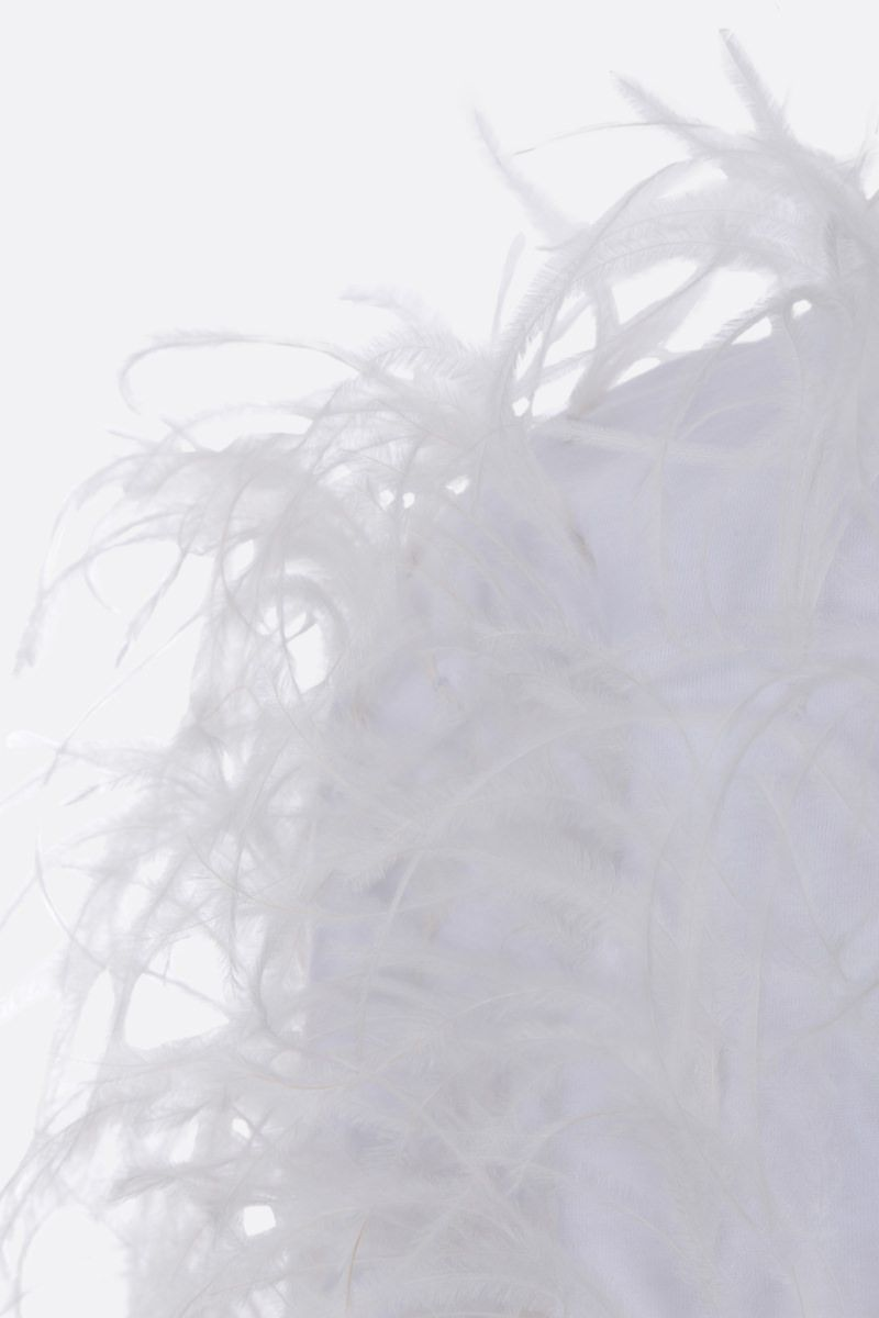 VALENTINO: feather-embellished cotton t-shirt Color White_5