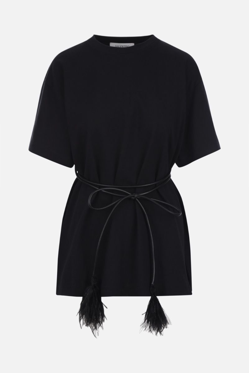 VALENTINO: belted cotton t-shirt Color Black_1