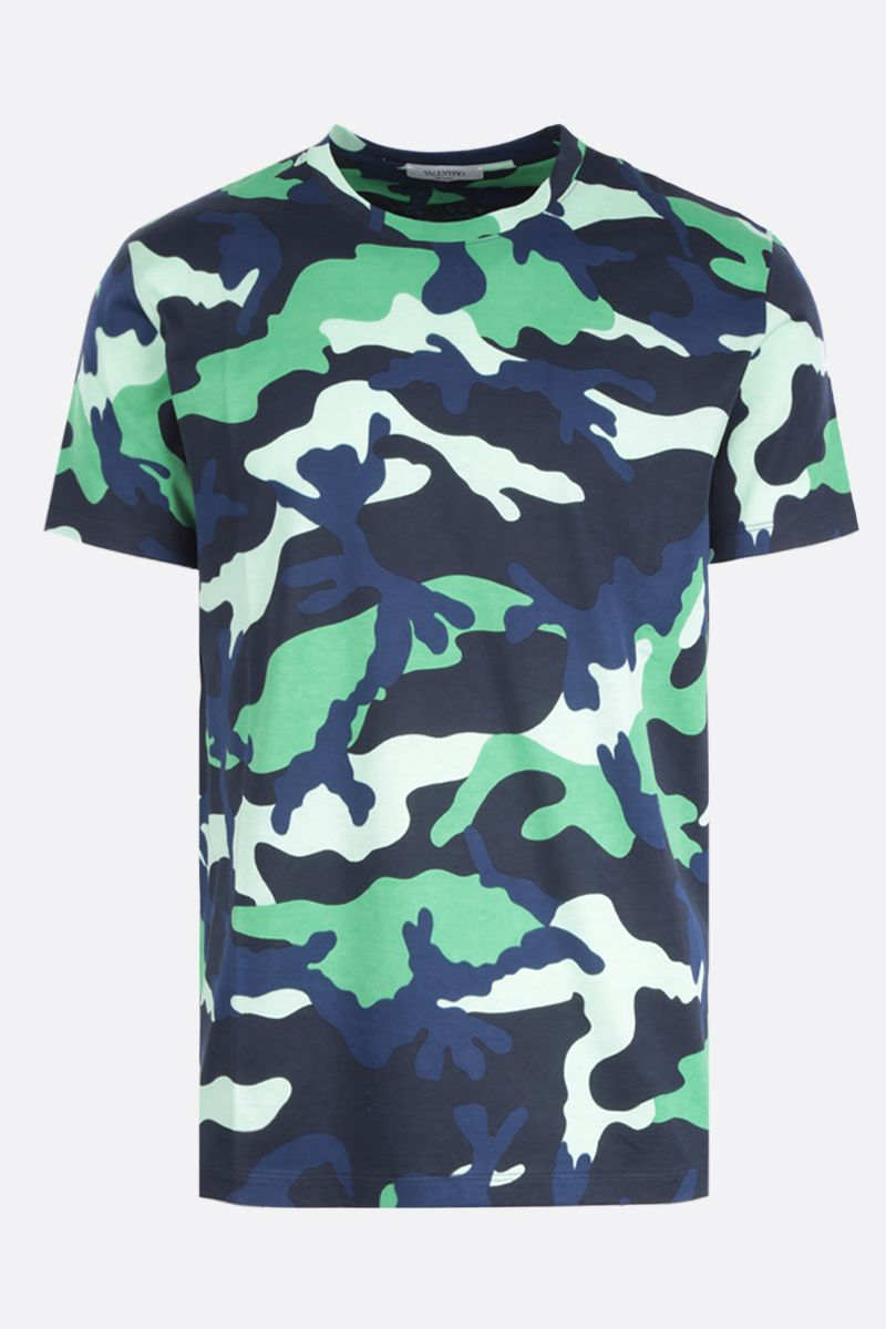 VALENTINO: camouflage printed cotton t-shirt Color Green_1