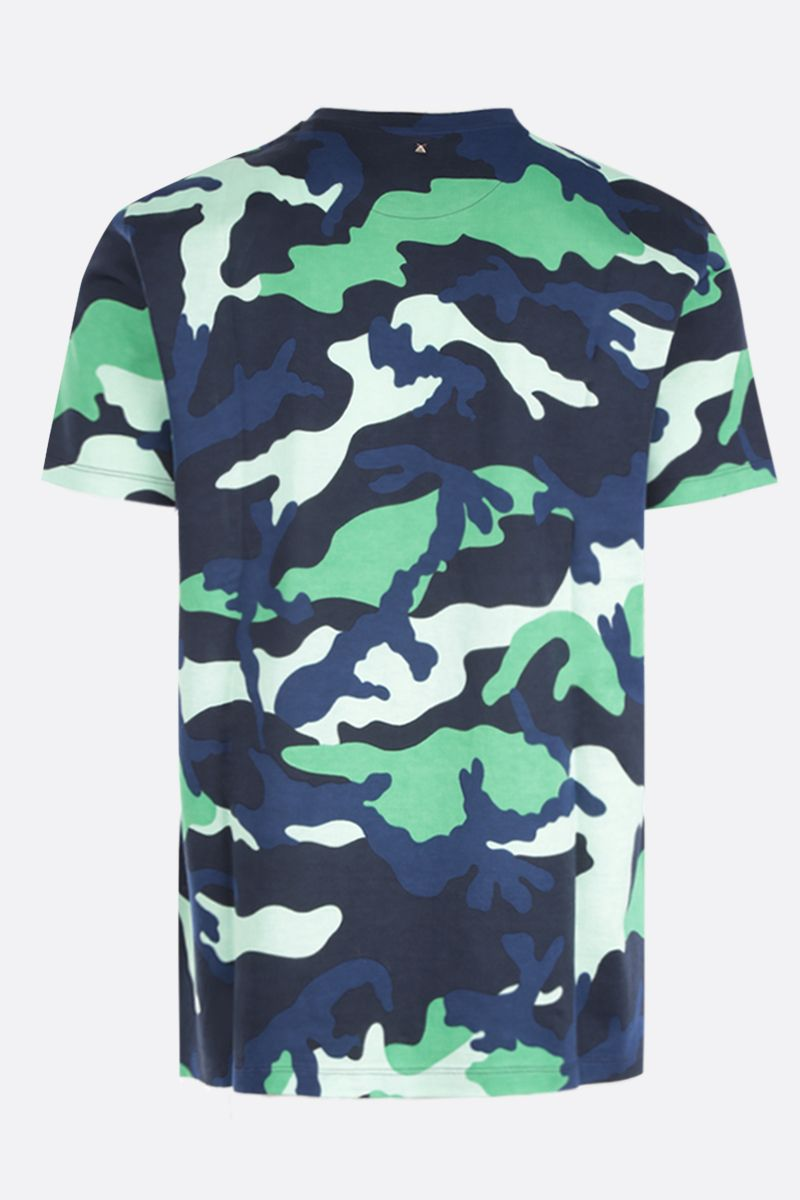 VALENTINO: camouflage printed cotton t-shirt Color Green_2
