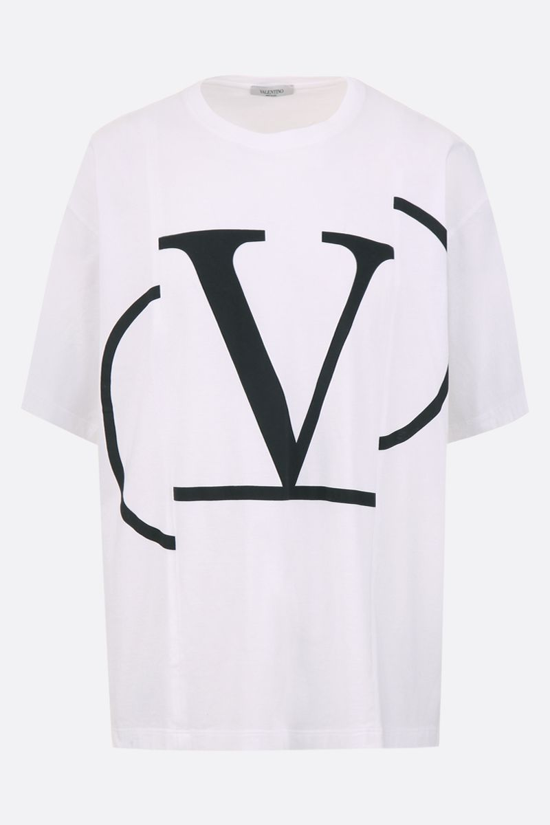 VALENTINO: deconstructed VLOGO cotton oversize t-shirt Color White_1