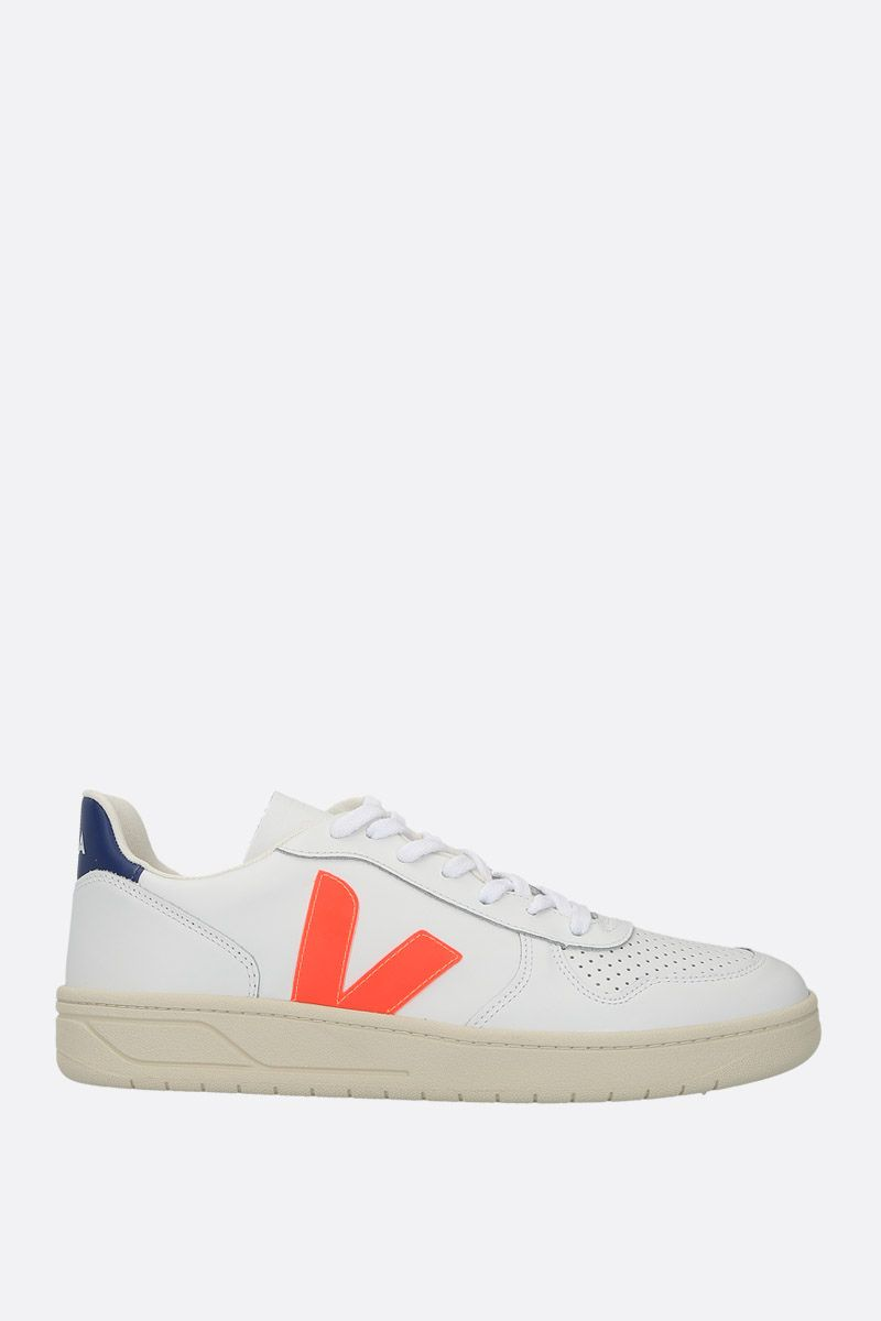 VEJA: V-10 sneakers in smooth and perforated leather_1