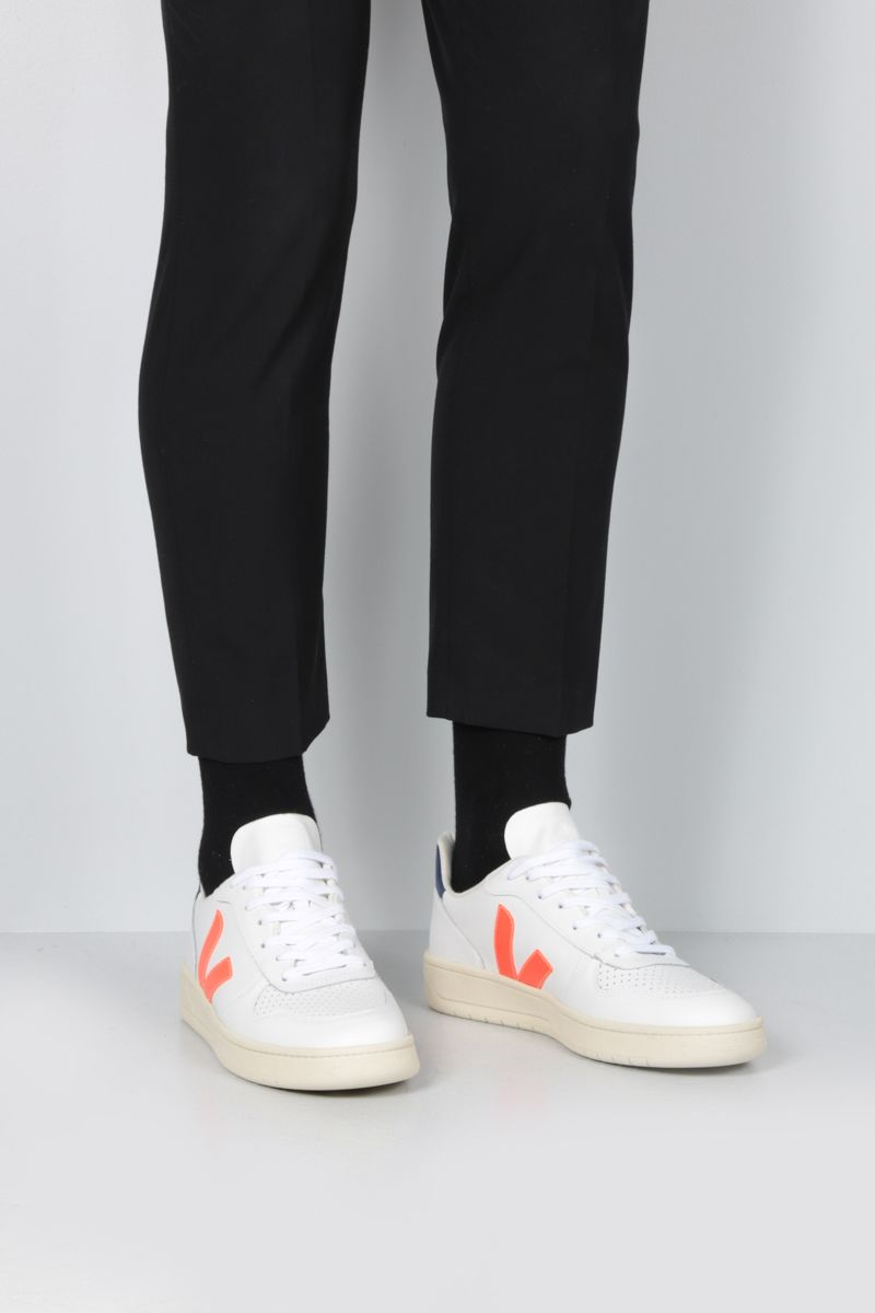 VEJA: V-10 sneakers in smooth and perforated leather_2