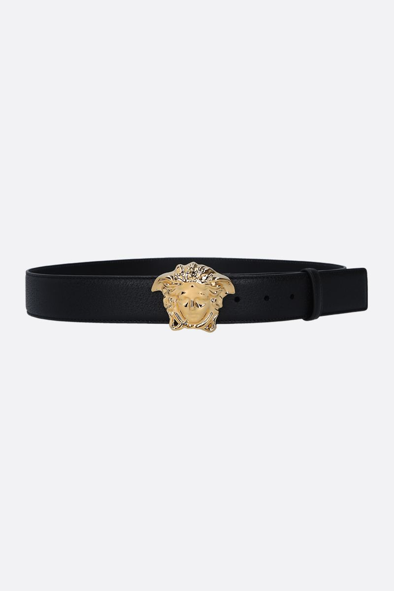 VERSACE: Medusa buckle-detailed belt in grainy leather Color Black_1