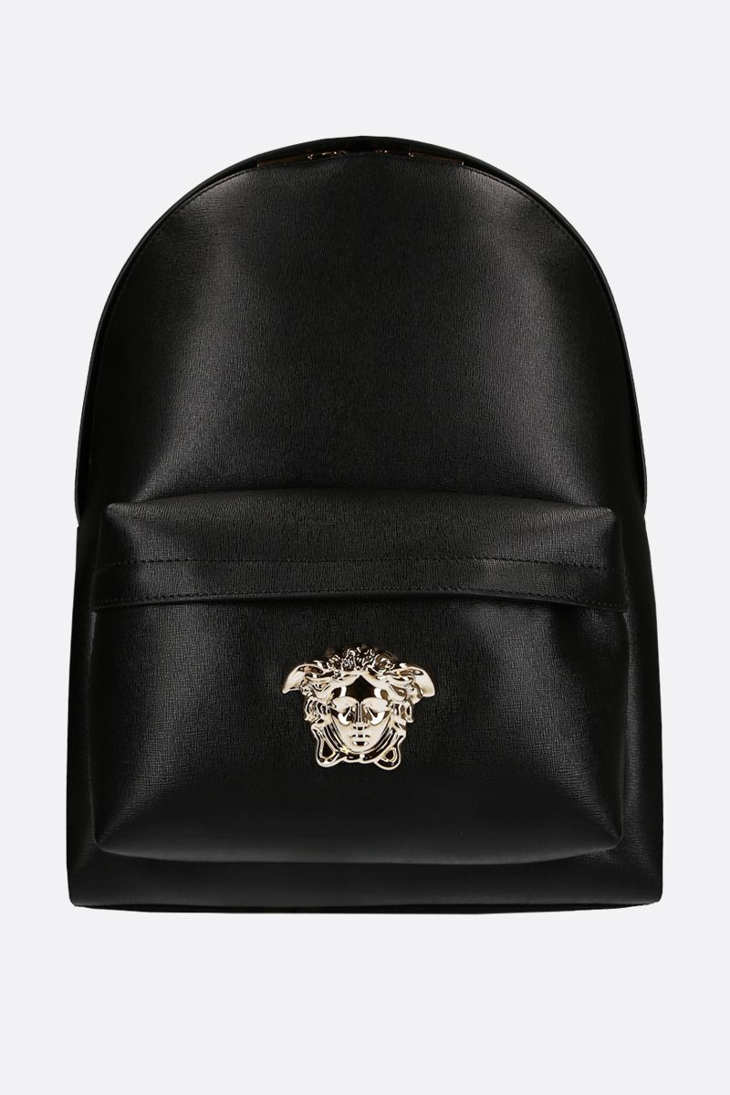 VERSACE: Medusa Head-detailed backpack in grainy leather Color Black_1