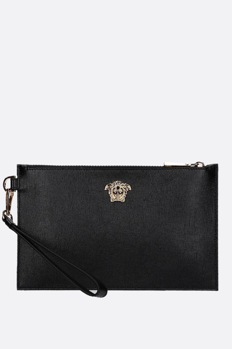 VERSACE: Medusa pouch in textured leather Color Black_1