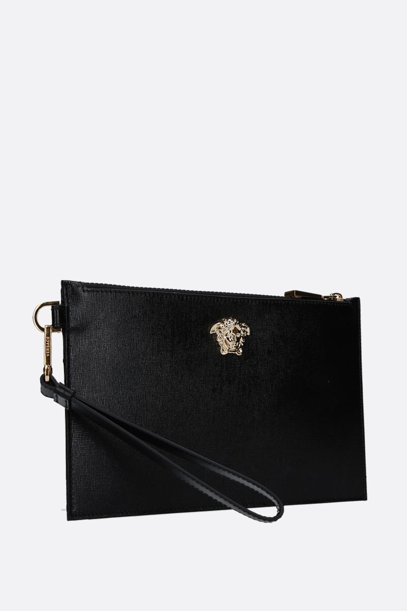 VERSACE: Medusa pouch in textured leather Color Black_2