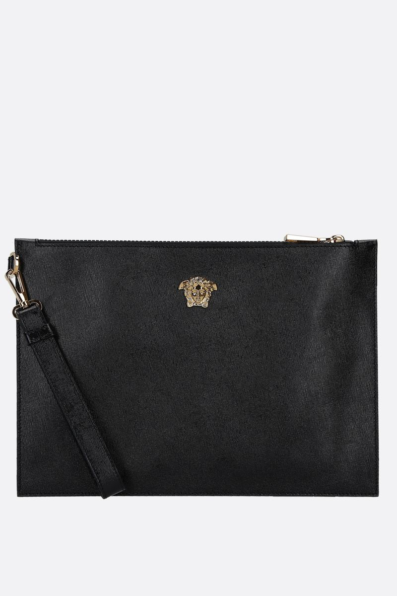 VERSACE: Palazzo pouch in grainy leather Color Black_1