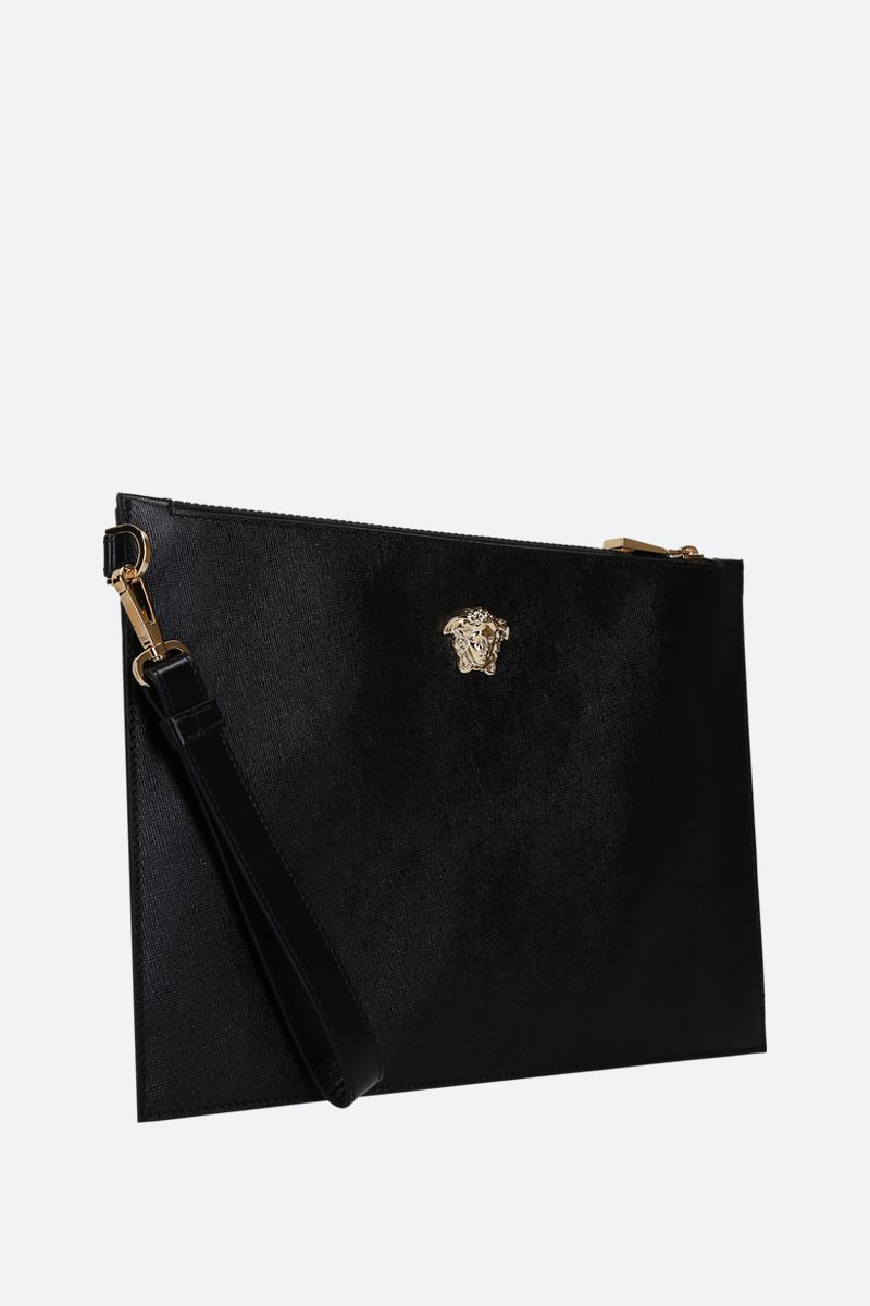 VERSACE: Palazzo pouch in grainy leather Color Black_2