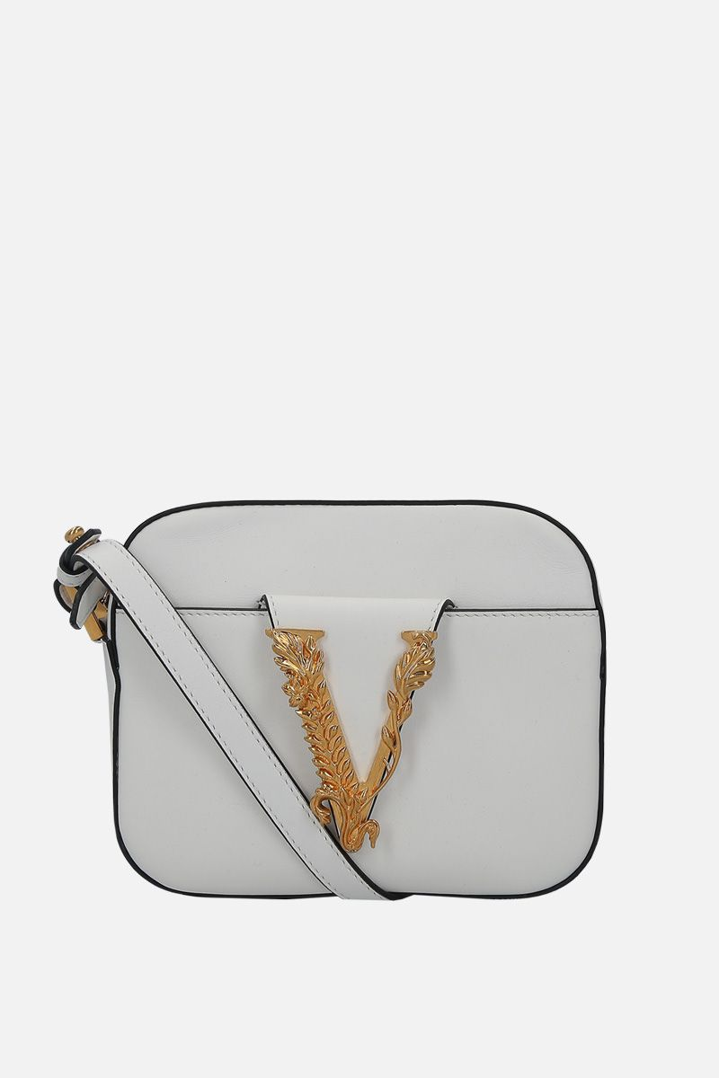 VERSACE: Virtus smooth leather camera bag Color White_1