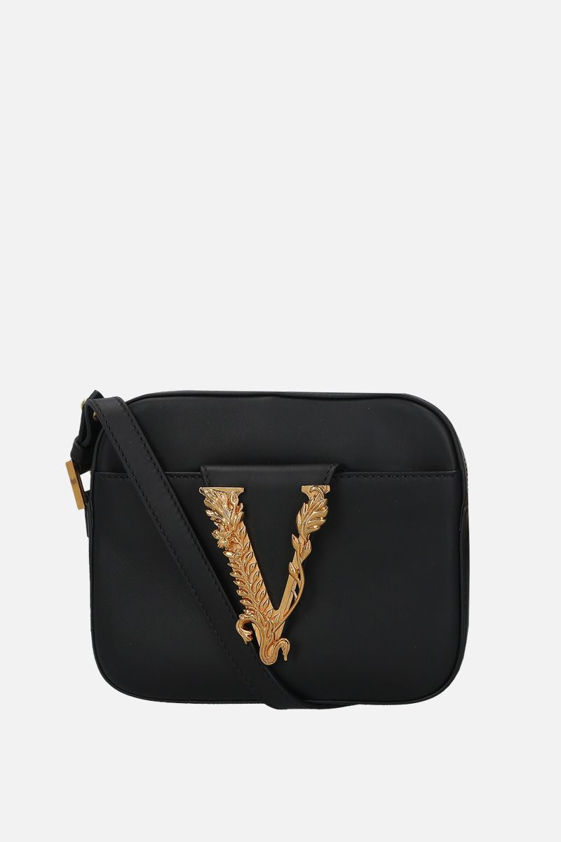VERSACE: Virtus smooth leather camera bag Color Black_1