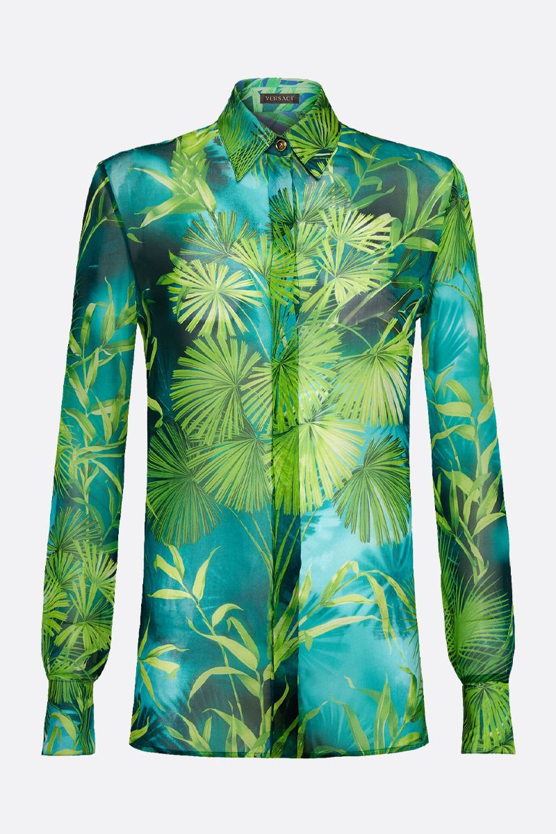 VERSACE: Jungle printed silk blend shirt Color Green_1