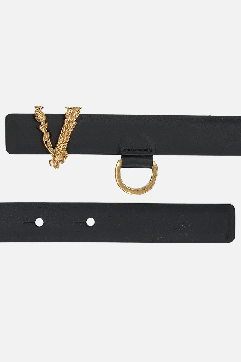 VERSACE: Virtus smooth leather belt Color Black_2