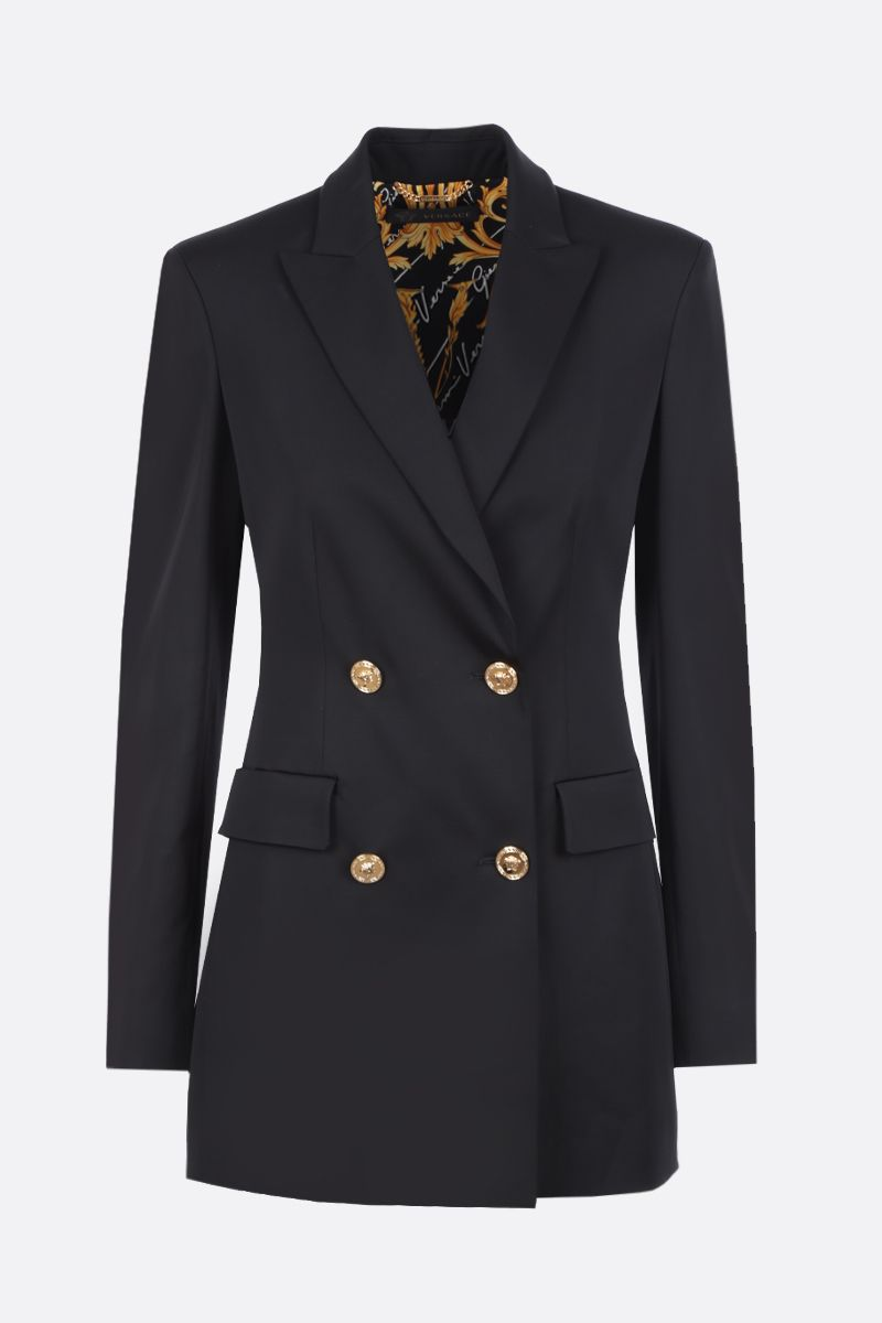 VERSACE: double-breasted jacket in stretch cady Color Black_1