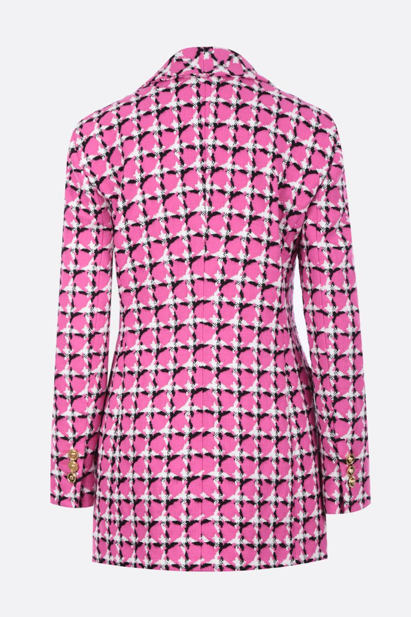 VERSACE: tweed double-breasted jacket with GV Signature foulard Color Pink_2