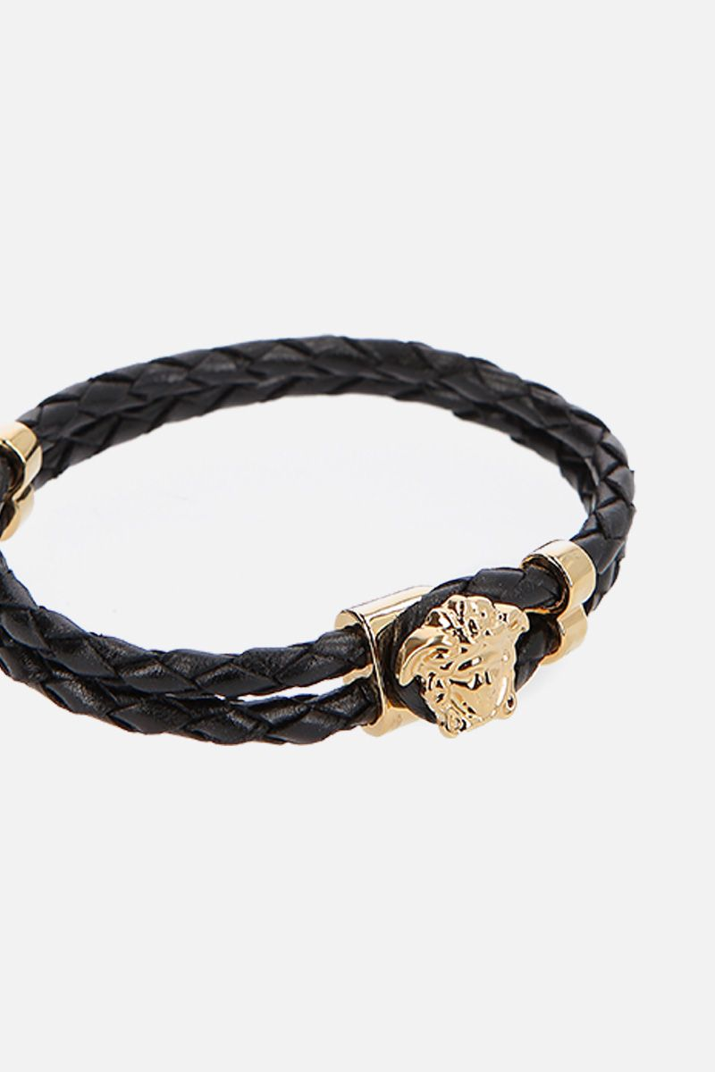 VERSACE: Medusa woven leather bracelet Color Black_2