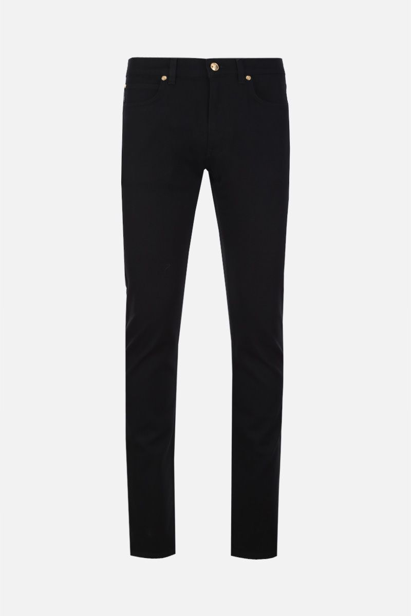 VERSACE: Barocco embroidered slim jeans Color Black_1
