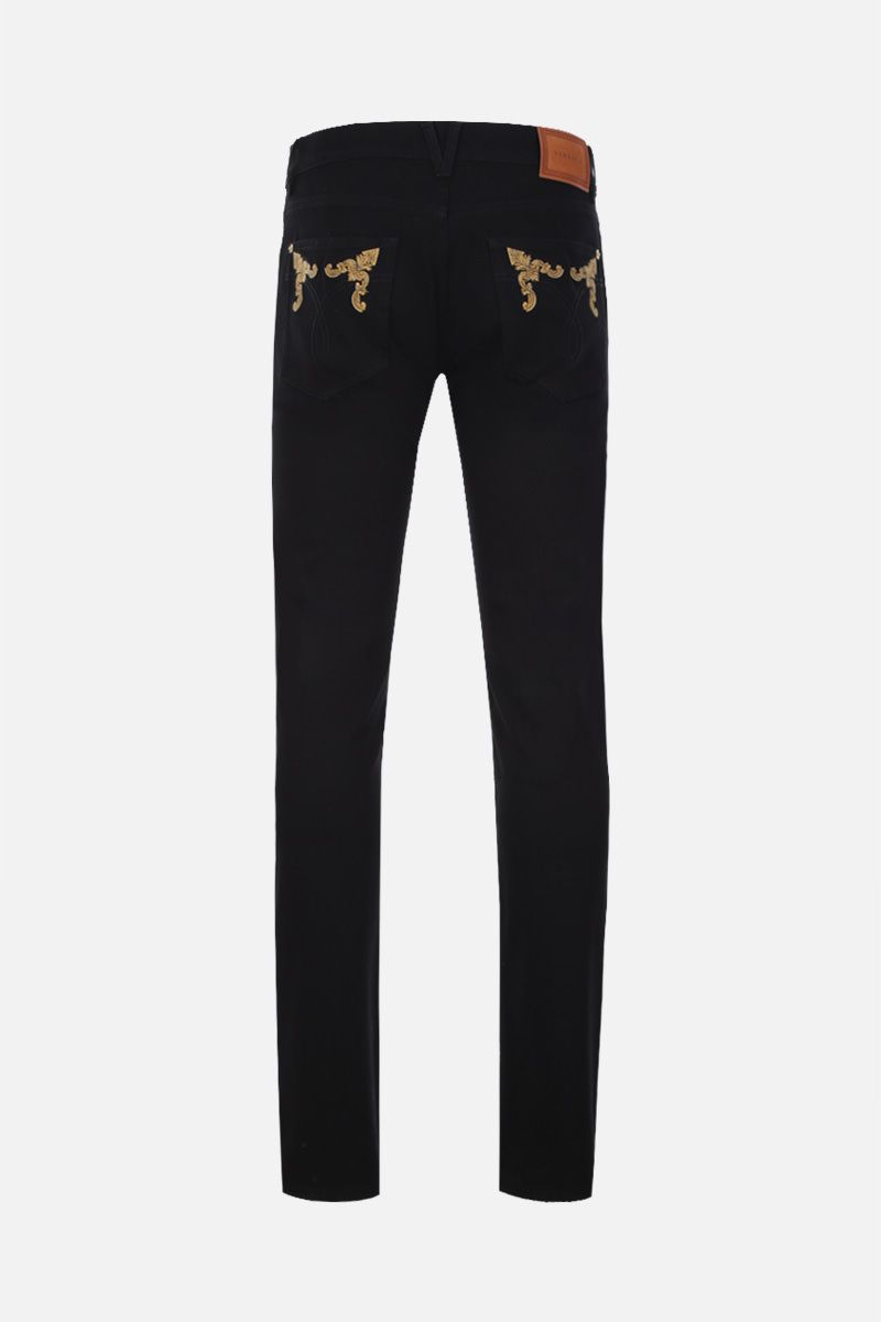 VERSACE: Barocco embroidered slim jeans Color Black_2