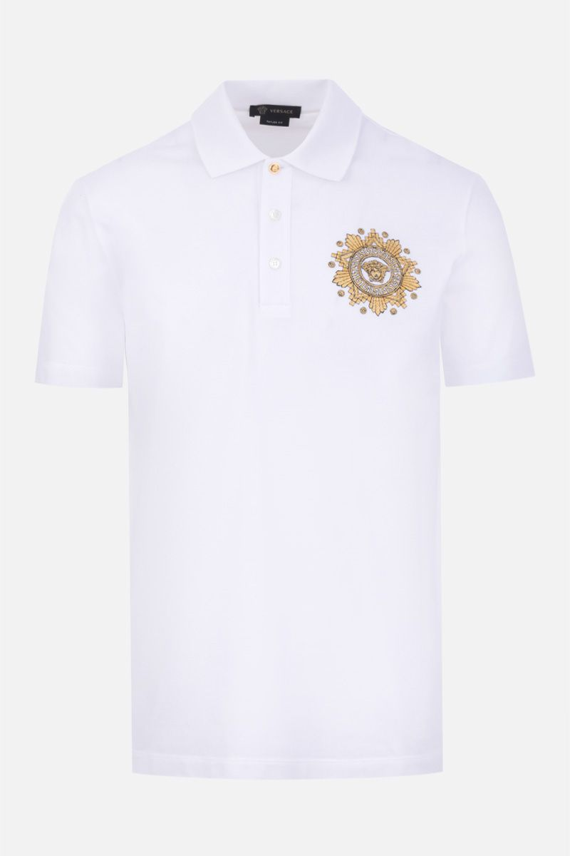 VERSACE: Medusa embroidered piquet polo shirt Color White_1