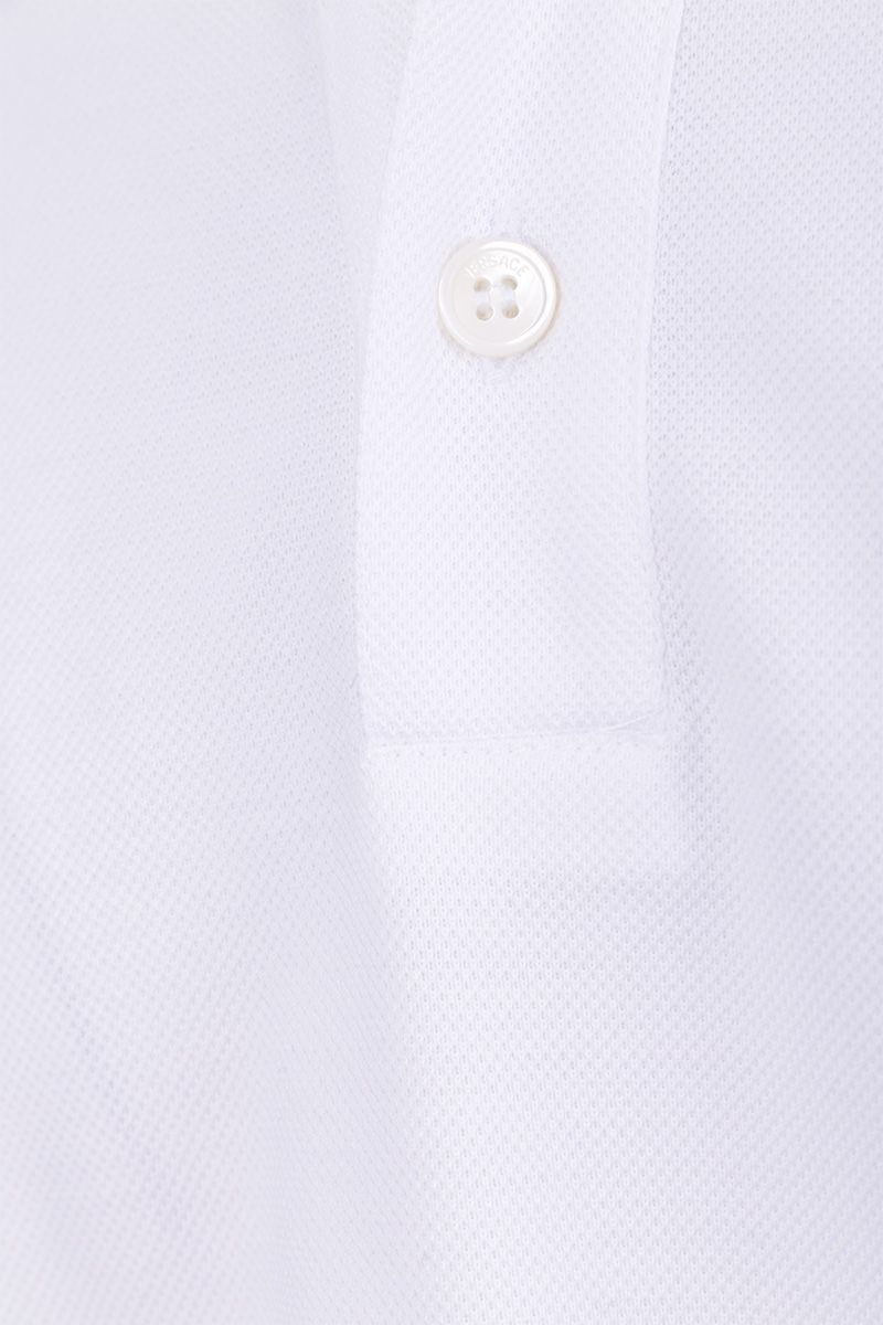 VERSACE: Medusa embroidered piquet polo shirt Color White_4