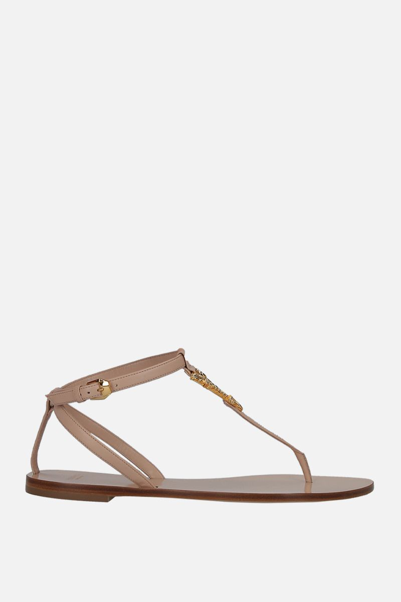 VERSACE: Virtus smooth leather thong sandals_1