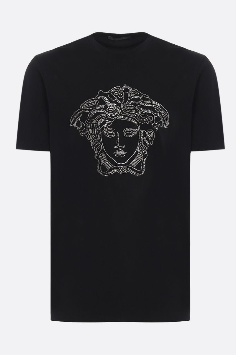 VERSACE: Medusa stretch cotton t-shirt Color Black_1