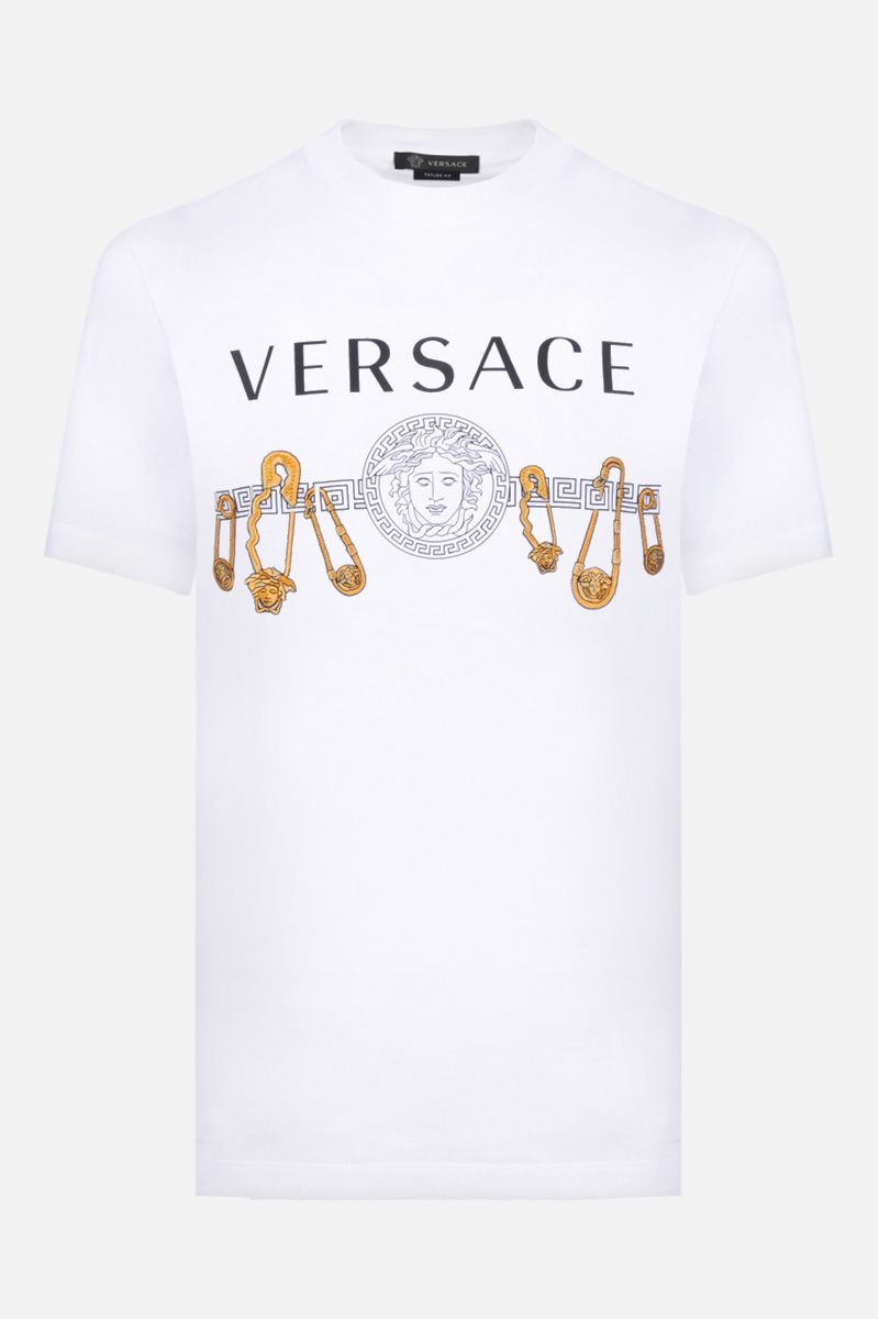 VERSACE: t-shirt in cotone stampa logo Versace Colore Bianco_1