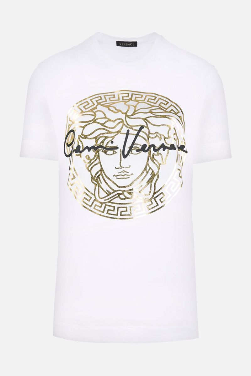 VERSACE: Medusa Signature print cotton t-shirt Color White_1