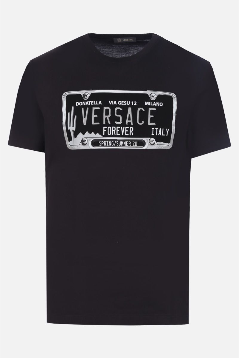VERSACE: License Plate print cotton t-shirt Color Black_1