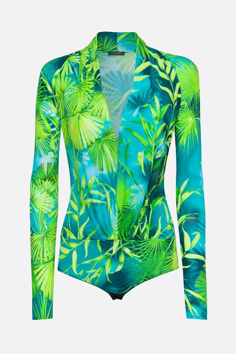 VERSACE: Jungle print stretch jersey bodysuit_1