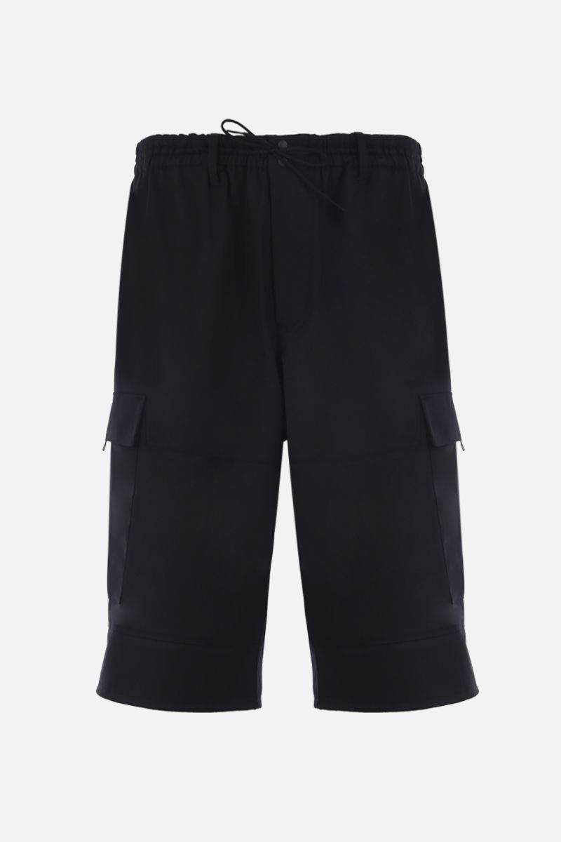 Y-3: wool blend cargo shorts Color Black_1