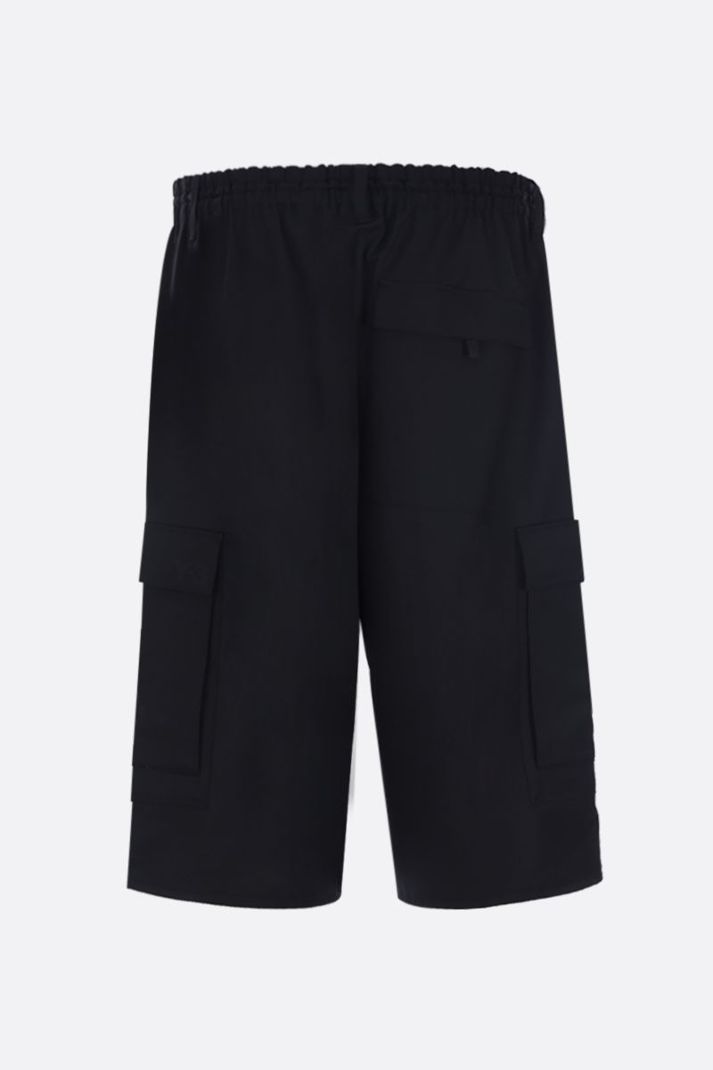 Y-3: wool blend cargo shorts Color Black_2