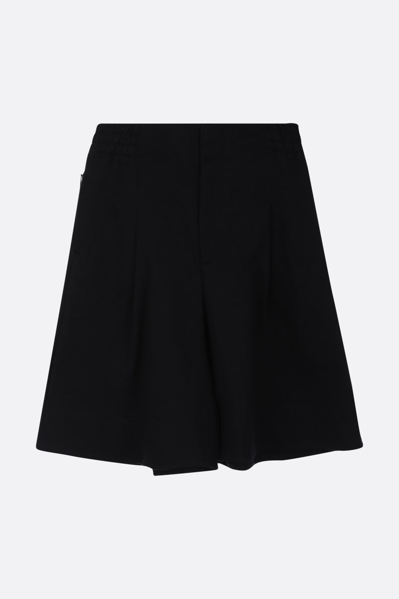 Y-3: logo print cotton darted shorts Color Black_1