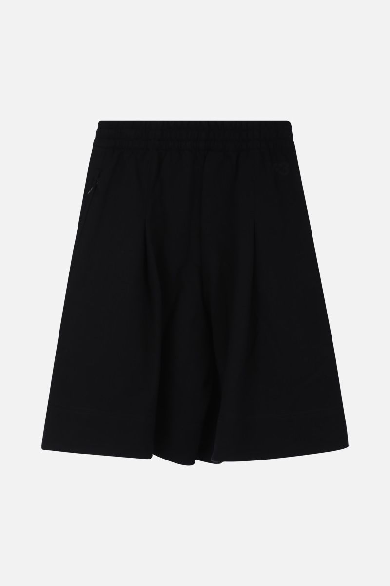 Y-3: logo print cotton darted shorts Color Black_2