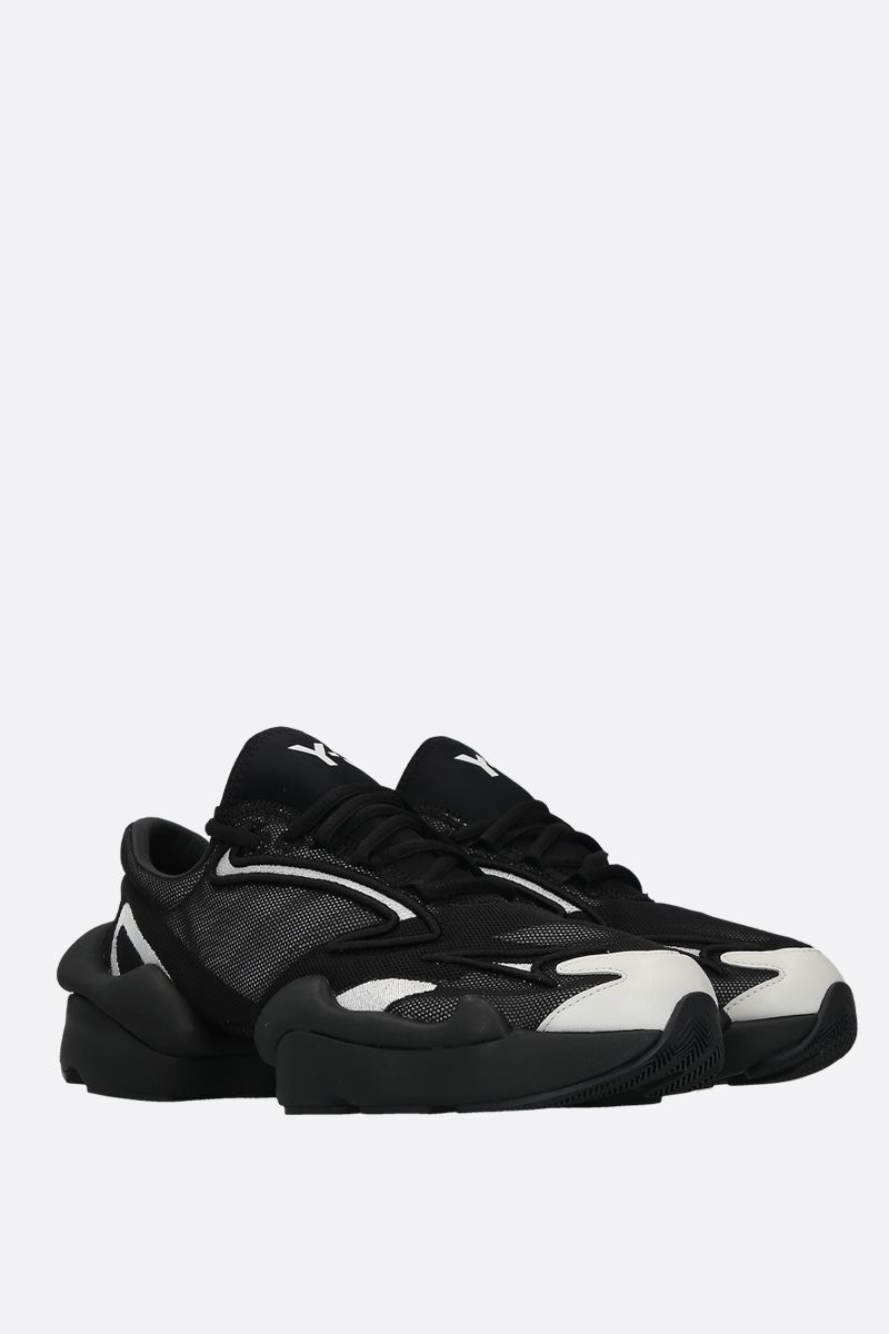 Y-3: Y-3 Ren sneakers in mesh and smooth leather Color Black_2