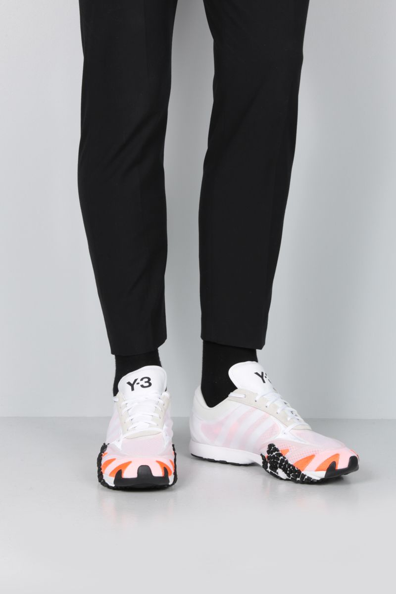 Y-3: Y-3 Rehito sneakers in mesh and suede Color White_2
