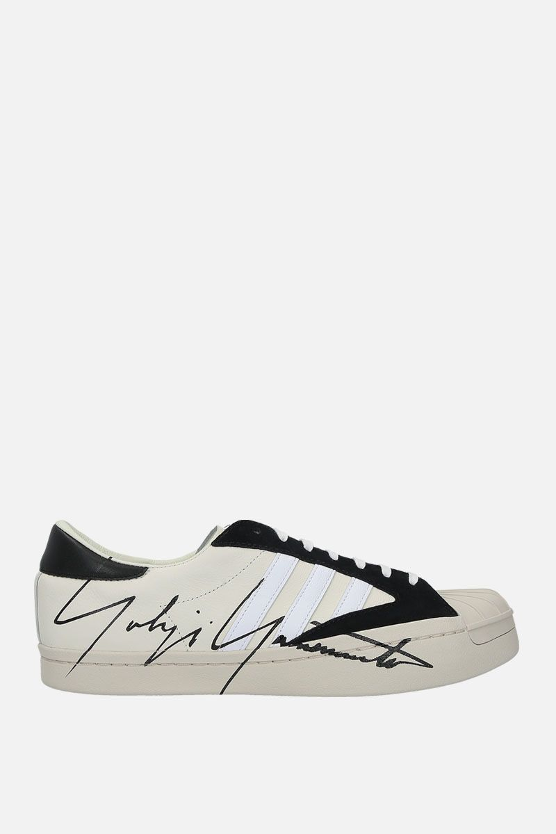 Y-3: Y-3 Yohji Star leather and suede sneakers Color White_1