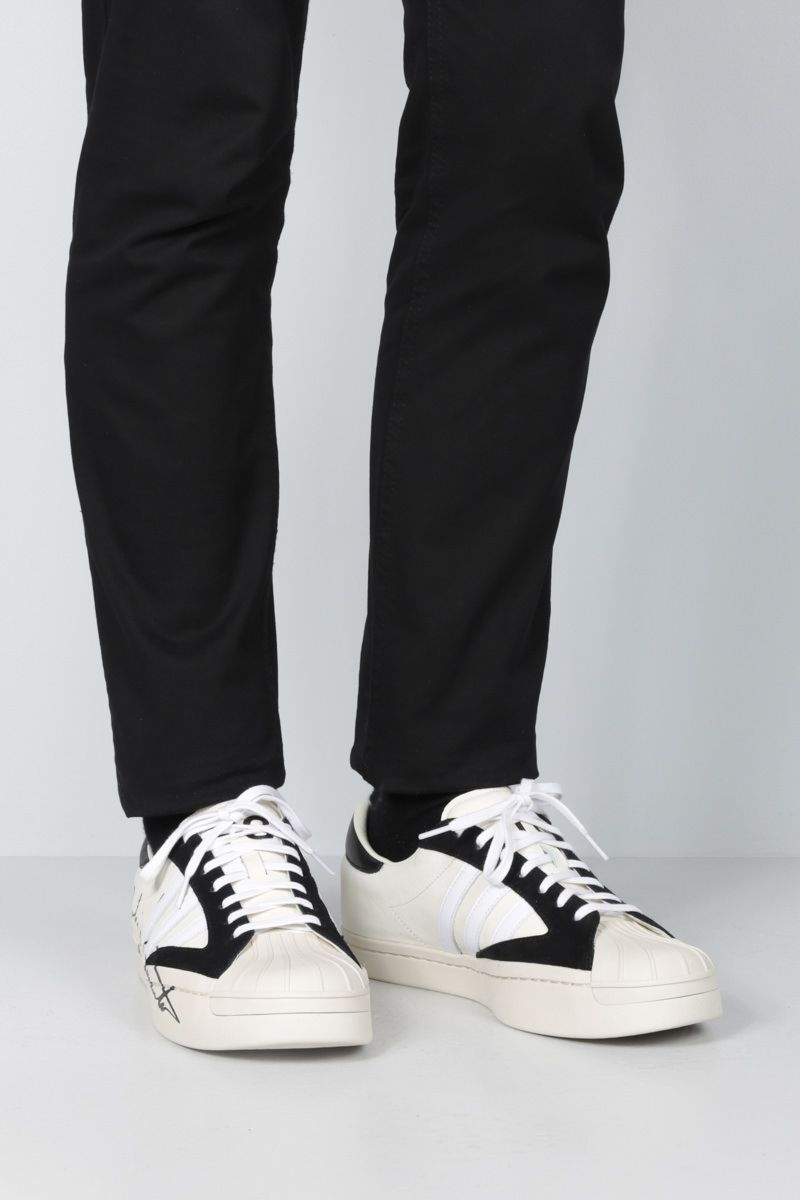 Y-3: Y-3 Yohji Star leather and suede sneakers Color White_2